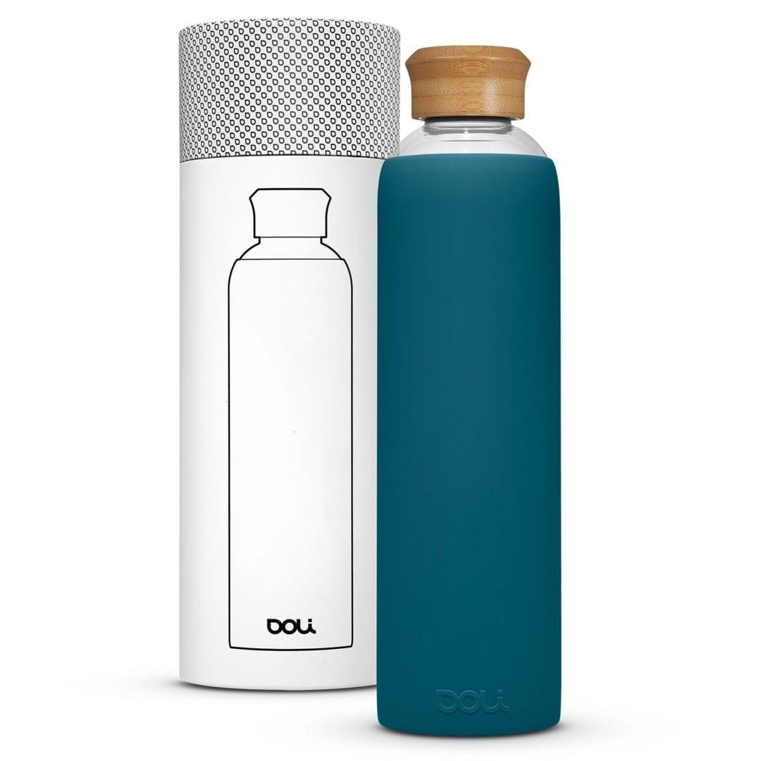 Trinkflasche aus Glas  Bamboo Teal 1L von Doli