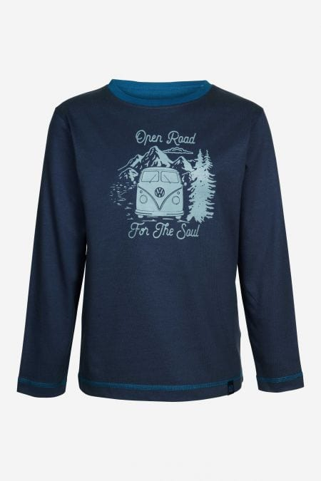 Kinder Longsleeve Back To Nature in Blau von Elkline