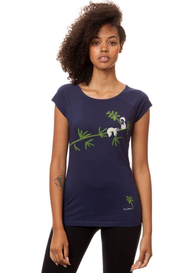 T-Shirt Faultier Dunkelblau  von FellHerz