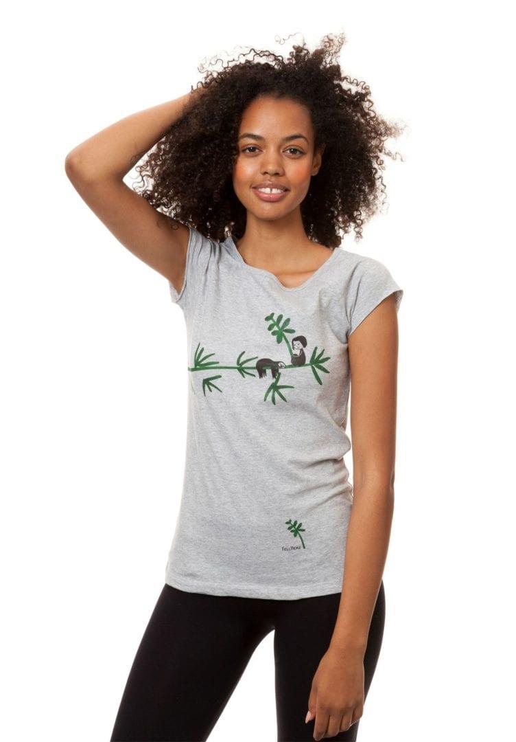 T-Shirt Faultier Hellgrau Meliert  von FellHerz