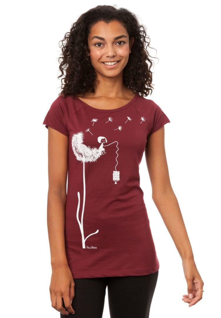 T-Shirt Pusteblume Dunkelrot  von FellHerz