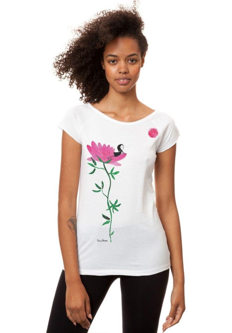 T-Shirt Sonnengrußmädchen Weiß  von FellHerz