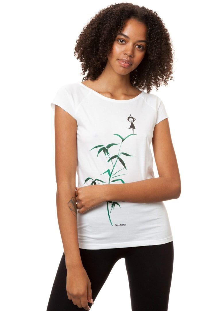 T-Shirt Yogamädchen Weiß  von FellHerz