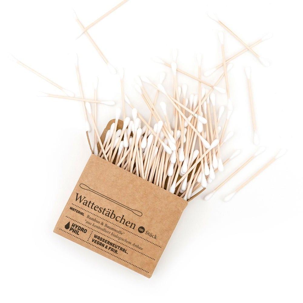 Wattestäbchen aus Bambus & Bio-Baumwolle – 100 Stück von Hydrophil