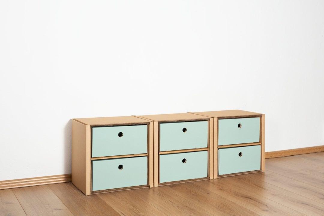 Regal 1x3 - 6 Schubladen niedrig / salbei von Room in a Box