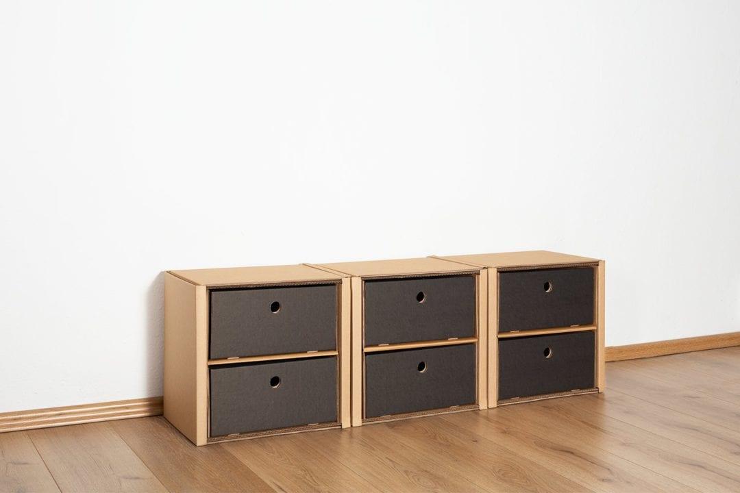 Regal 1x3 - 6 Schubladen niedrig / schwarz von Room in a Box