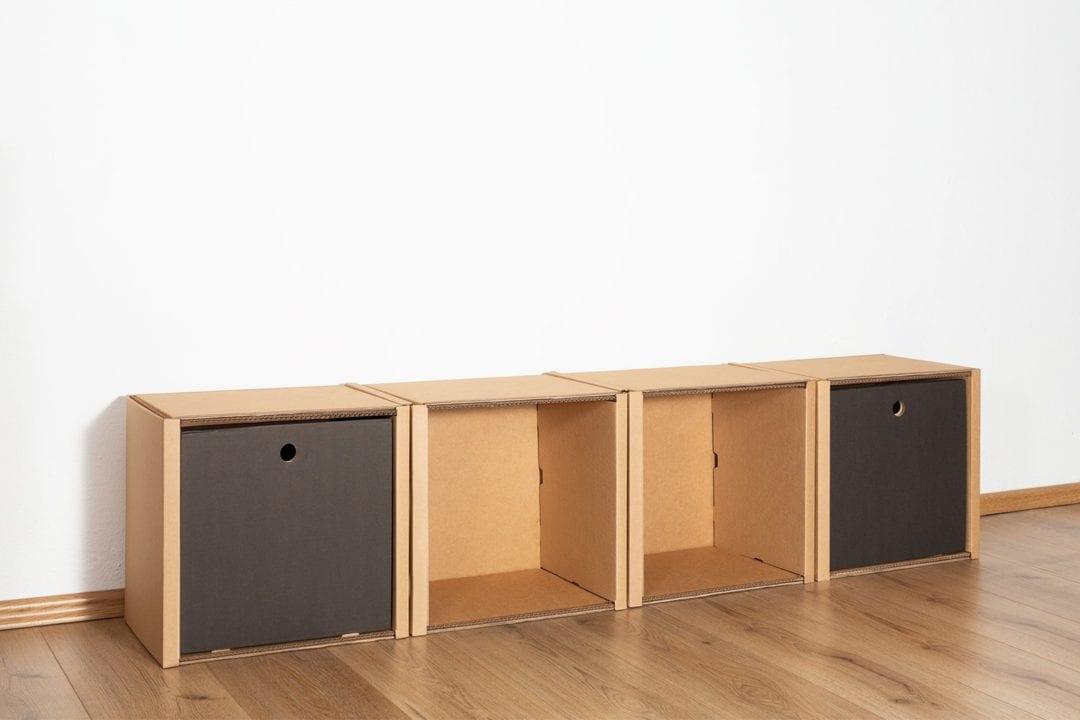 Regal 1x4 - 2 Schubladen hoch / schwarz von Room in a Box