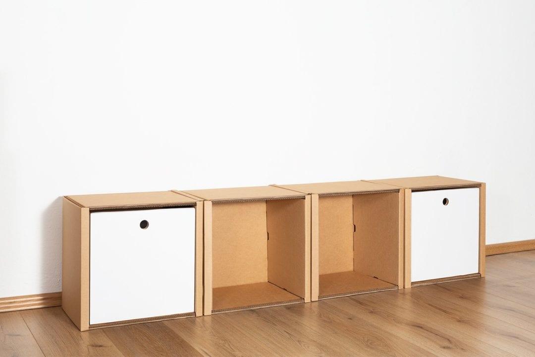 Regal 1x4 - 2 Schubladen hoch / weiß von Room in a Box