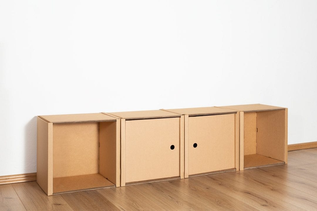 Regal 1x4 - 2 Türen / natur von Room in a Box