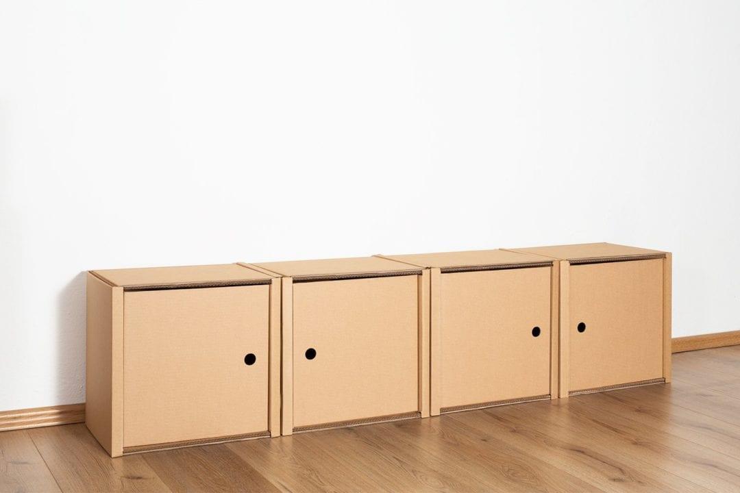 Regal 1x4 - 4 Türen / natur von Room in a Box