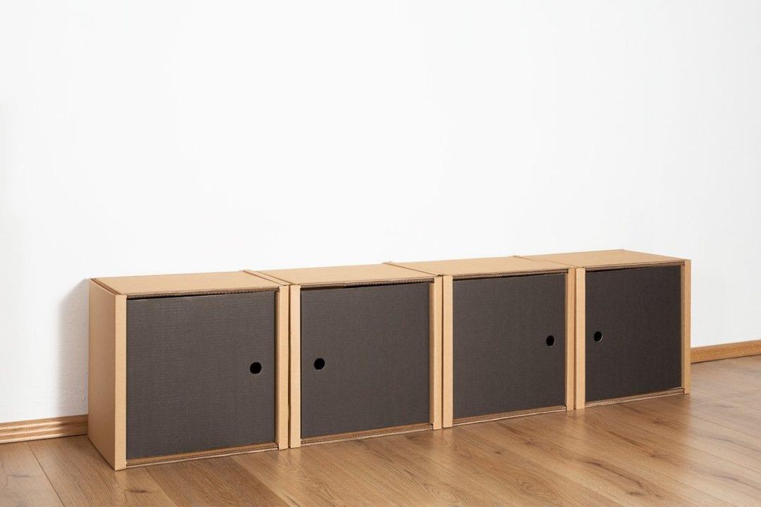 Regal 1x4 - 4 Türen / schwarz von Room in a Box