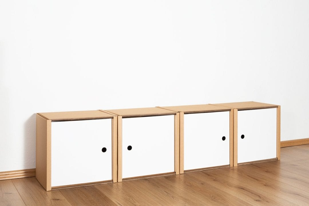 Regal 1x4 - 4 Türen / weiß von Room in a Box