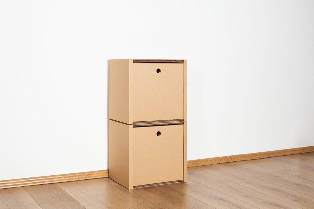 Regal 2x1 - 2 Schubladen hoch / natur von Room in a Box