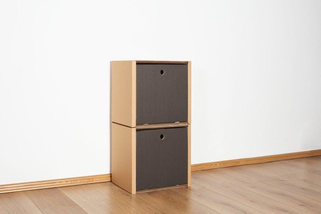 Regal 2x1 - 2 Schubladen hoch / schwarz von Room in a Box