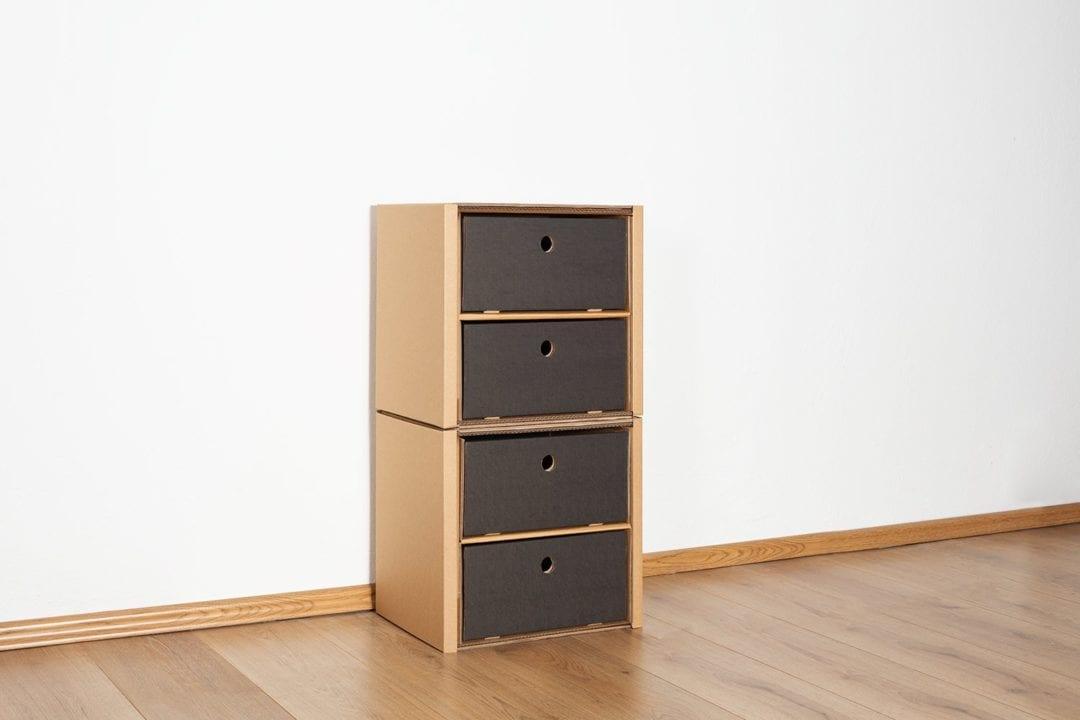 Regal 2x1 - 4 Schubladen niedrig / schwarz von Room in a Box