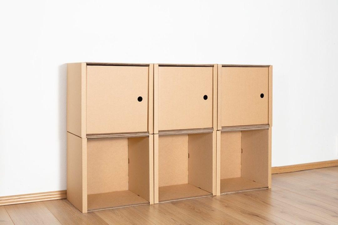Regal 2x3 - 3 Türen / natur von Room in a Box