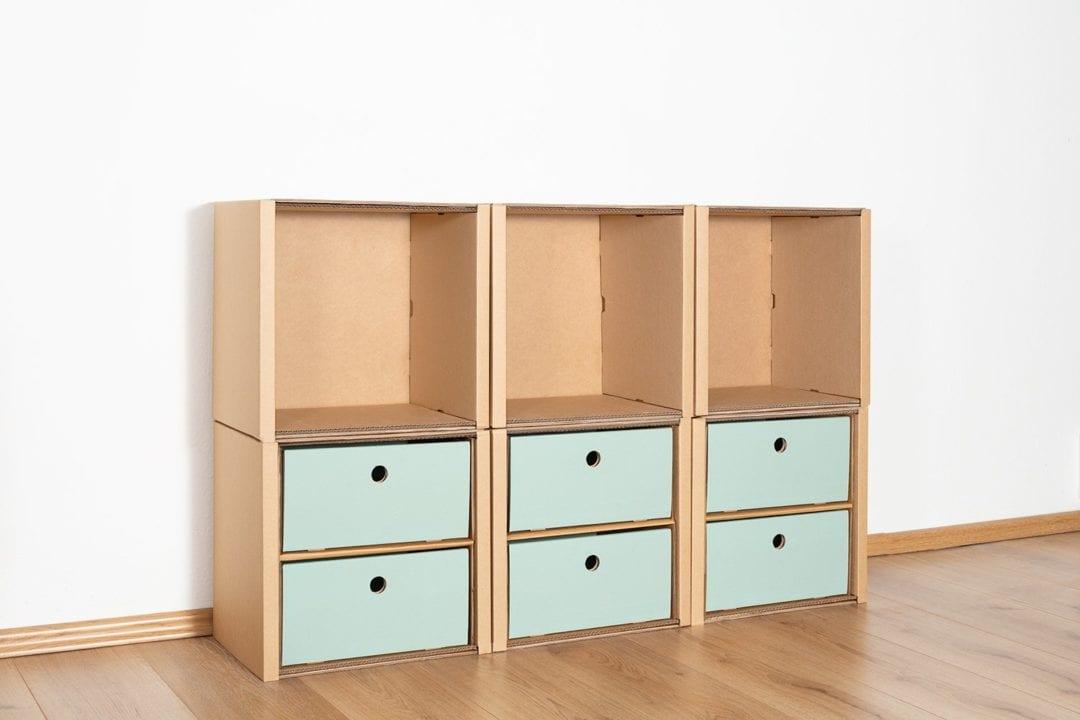 Regal 2x3 - 6 Schubladen niedrig / salbei von Room in a Box