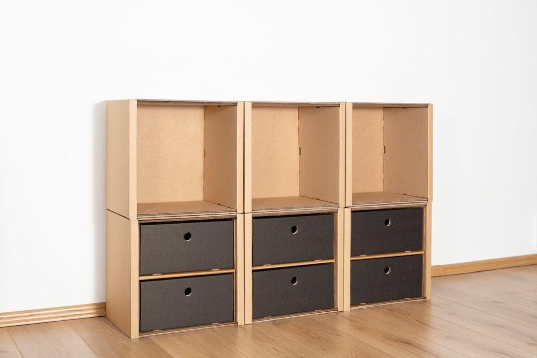 Regal 2x3 - 6 Schubladen niedrig / schwarz von Room in a Box