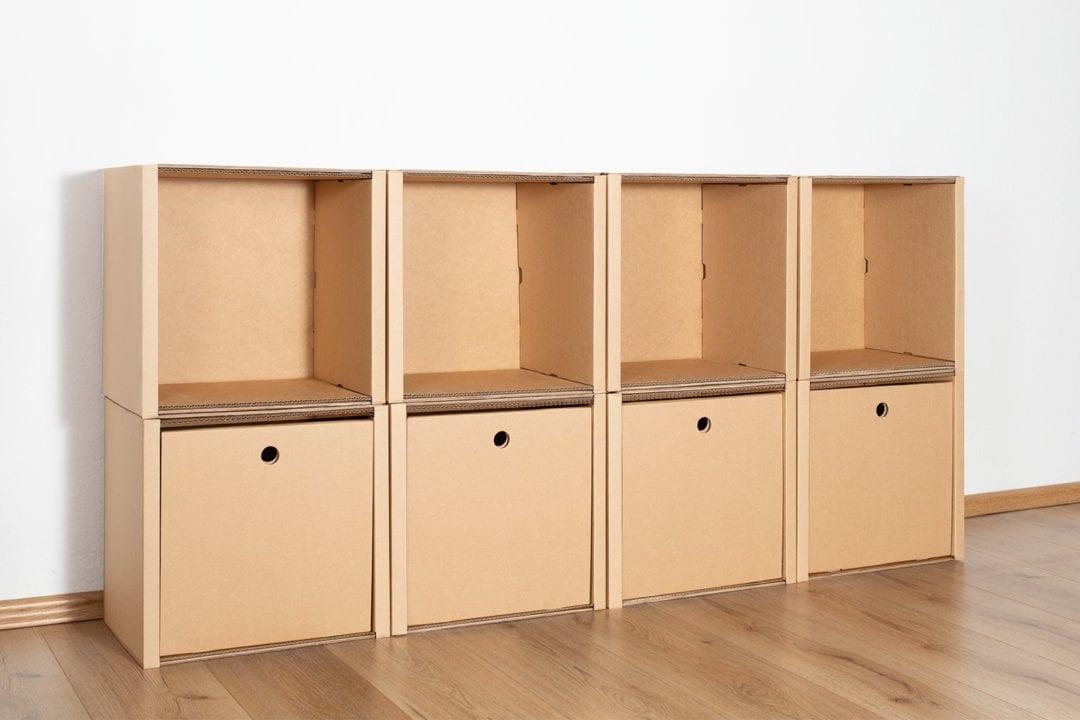 Regal 2x4 - 4 Schubladen hoch / natur von Room in a Box