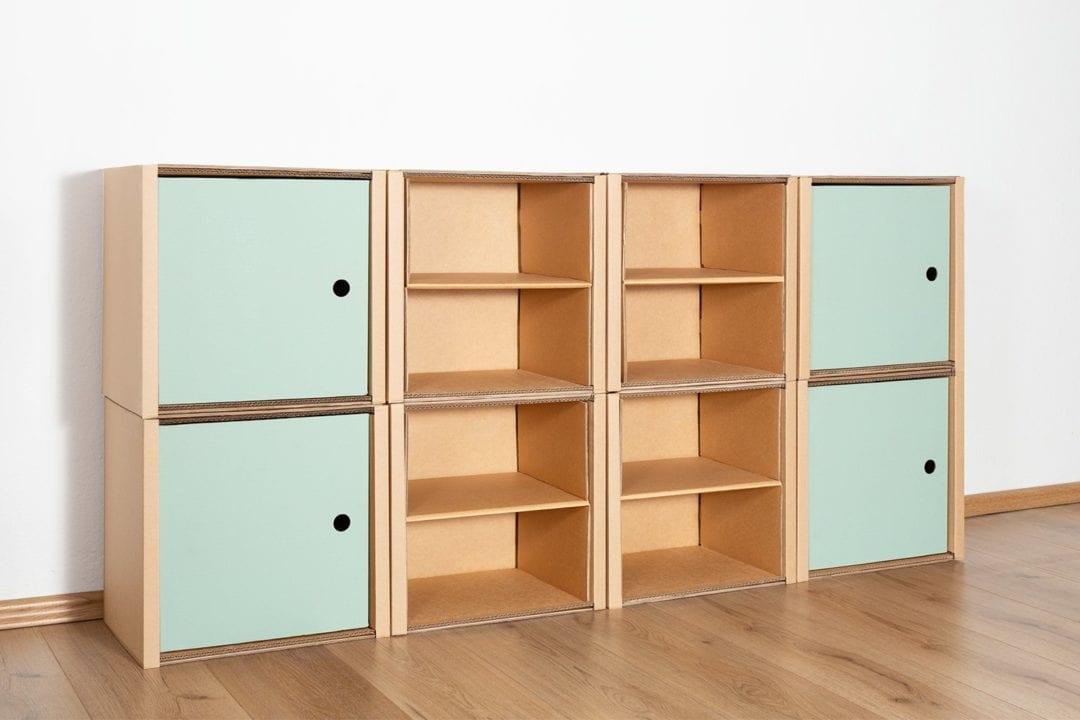 Regal 2x4 - 4 Türen + 4 Regalböden (natur) / salbei von Room in a Box