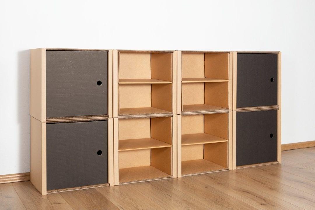 Regal 2x4 - 4 Türen + 4 Regalböden (natur) / schwarz von Room in a Box