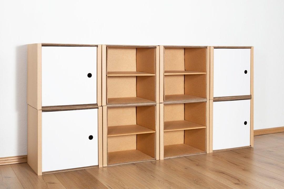 Regal 2x4 - 4 Türen + 4 Regalböden (natur) / weiß von Room in a Box