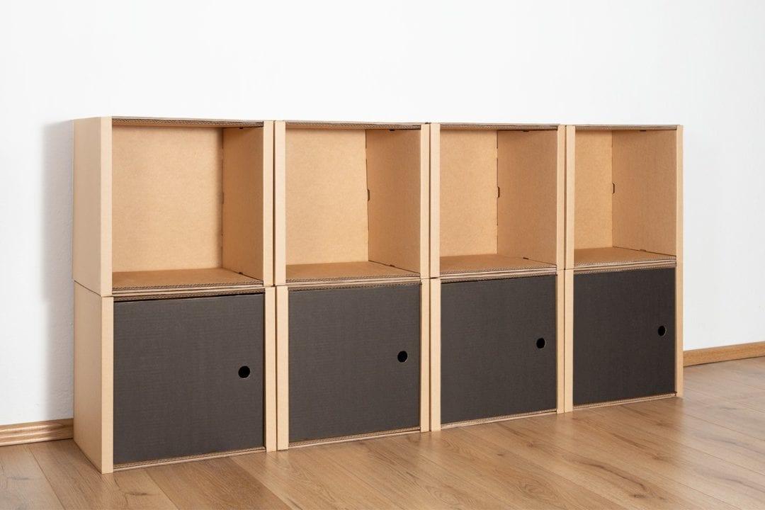 Regal 2x4 - 4 Türen / schwarz von Room in a Box