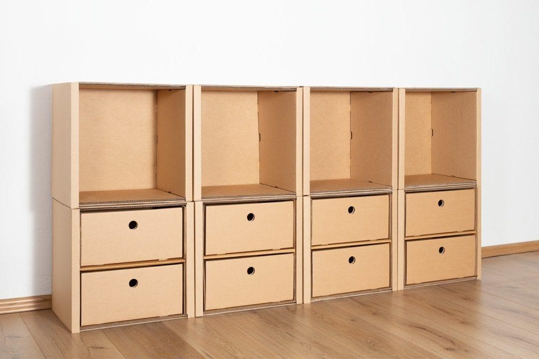 Regal 2x4 - 8 Schubladen niedrig / natur von Room in a Box