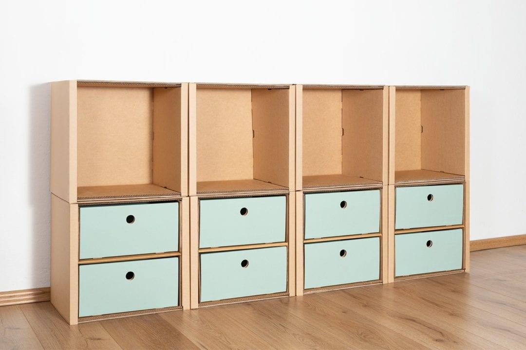 Regal 2x4 - 8 Schubladen niedrig / salbei von Room in a Box