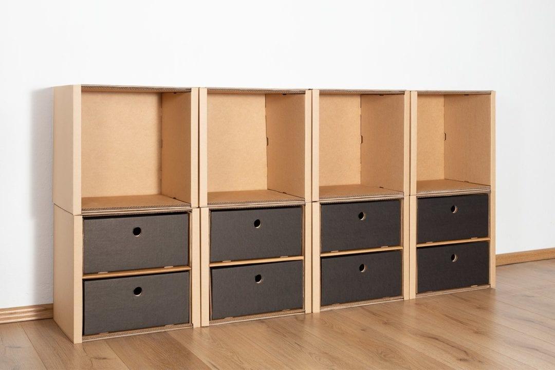 Regal 2x4 - 8 Schubladen niedrig / schwarz von Room in a Box