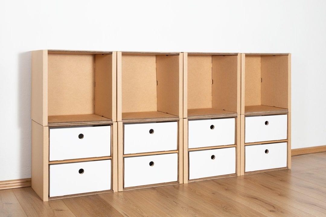 Regal 2x4 - 8 Schubladen niedrig / weiß von Room in a Box