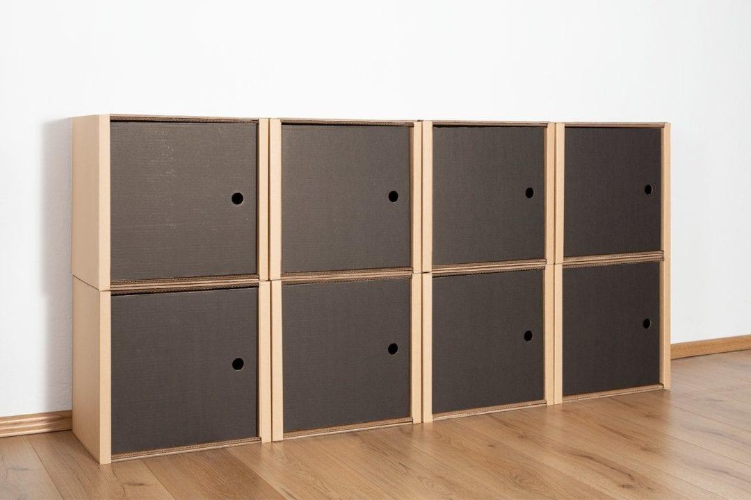Regal 2x4 - 8 Türen / schwarz von Room in a Box
