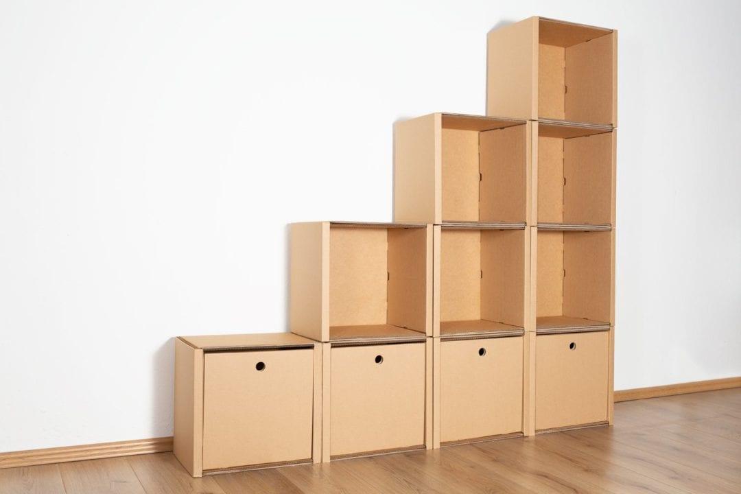 Stufenregal groß - 4 Schubladen hoch / natur von Room in a Box