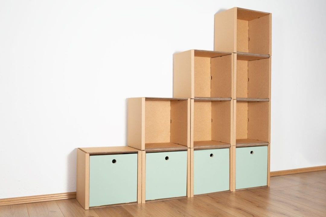 Stufenregal groß - 4 Schubladen hoch / salbei von Room in a Box