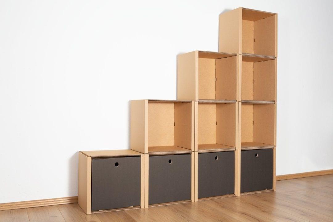 Stufenregal groß - 4 Schubladen hoch / schwarz von Room in a Box