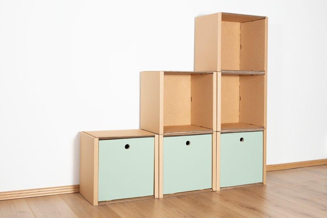 Stufenregal klein - 3 Schubladen hoch / salbei von Room in a Box
