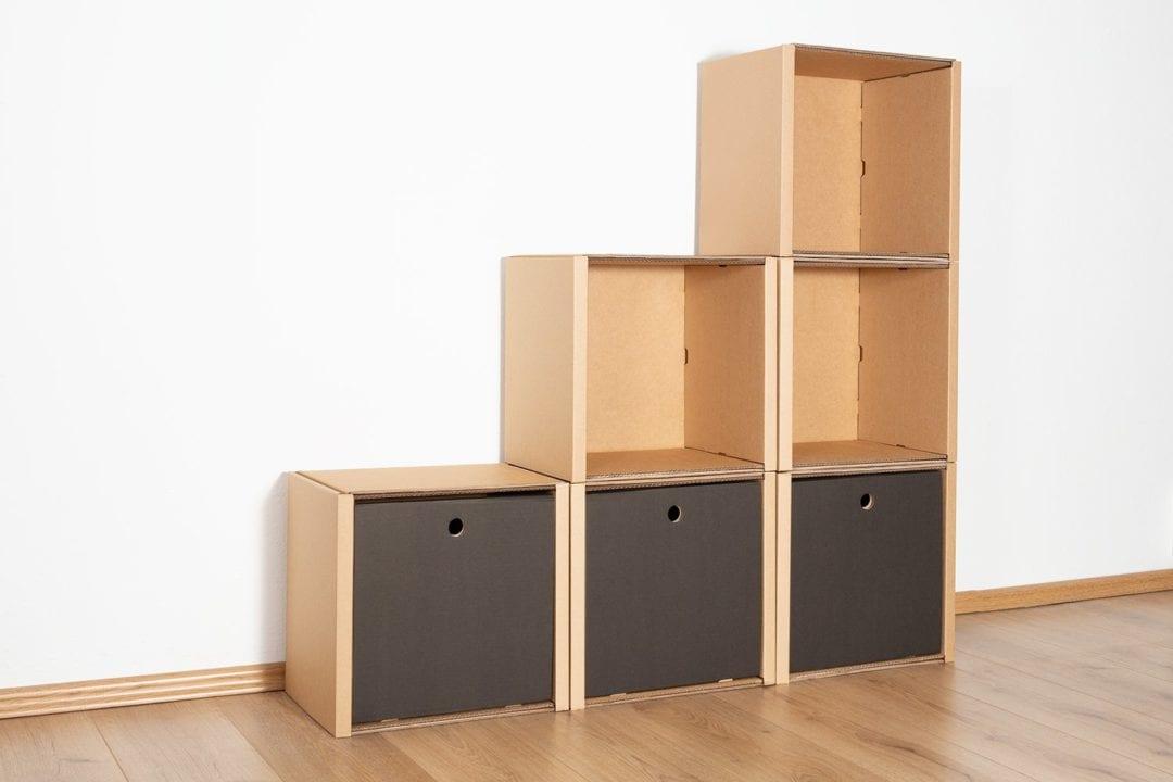 Stufenregal klein - 3 Schubladen hoch / schwarz von Room in a Box