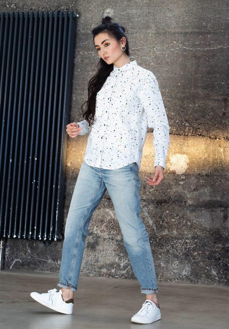 Damen Hemd Snippet Weiß  von ThokkThokk