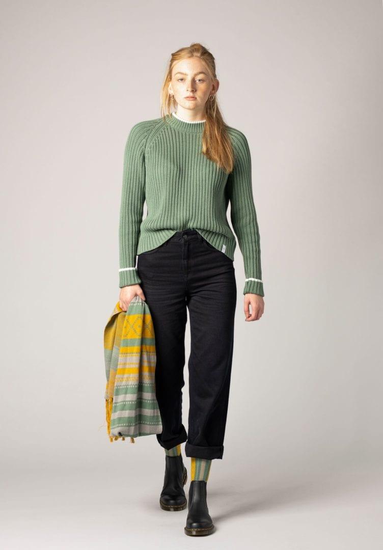 Damen Strick Pullover Grün  von ThokkThokk