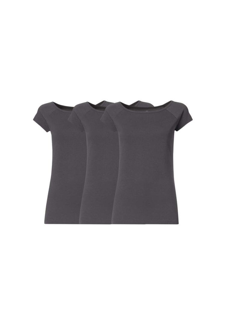 Damen T-Shirt Dunkelgrau 3er Pack  von ThokkThokk