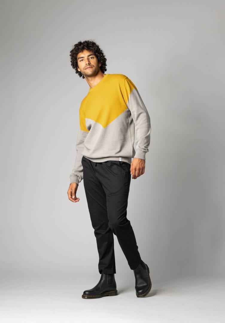 Herren Pullover Gelb Grau  von ThokkThokk