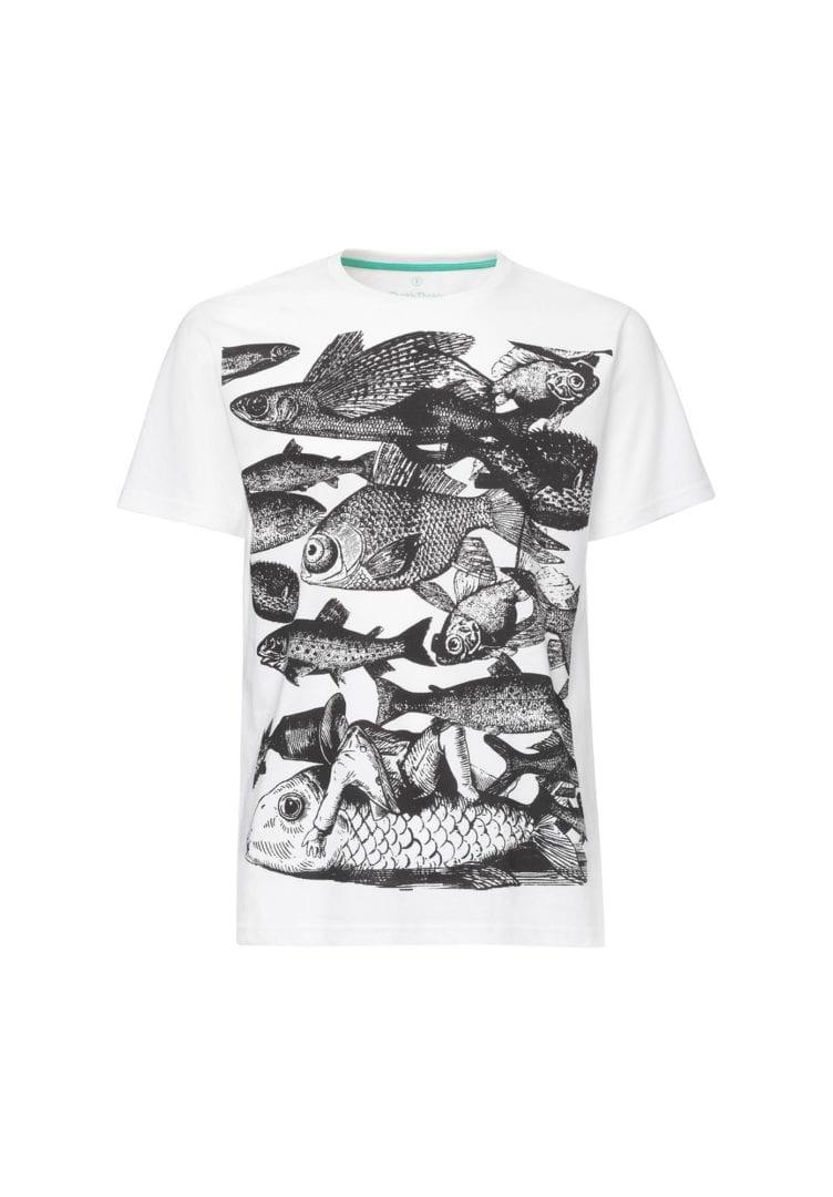 Herren T-Shirt Fish Weiß  von ThokkThokk