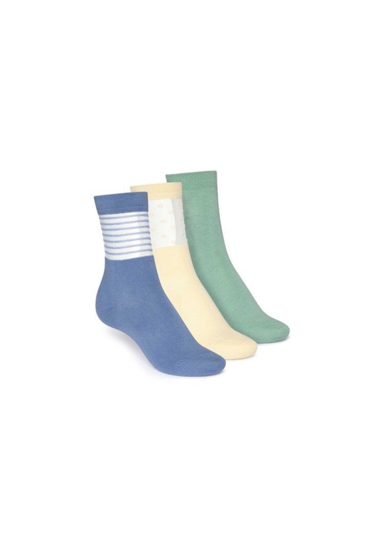 Socken Mittelhoch Grün Hellgelb Blau 3er Pack  von ThokkThokk