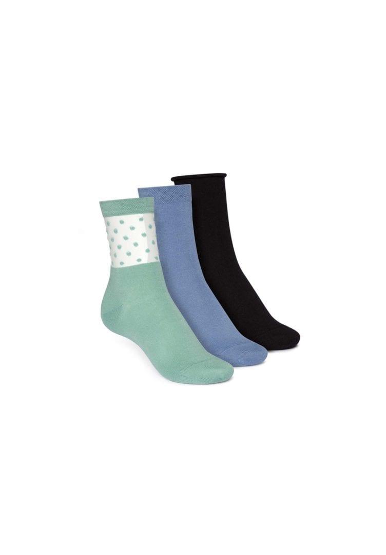 Socken Mittelhoch Schwarz Blau Grün 3er Pack  von ThokkThokk