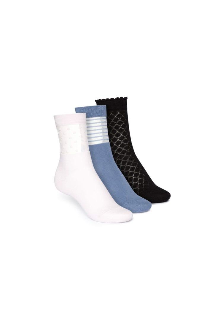 Socken Mittelhoch Schwarz Blau Hellrosa 3er Pack  von ThokkThokk