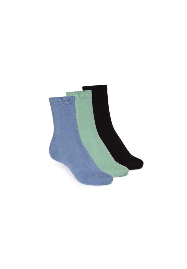 Socken Mittelhoch Schwarz Grün Blau 3er Pack  von ThokkThokk