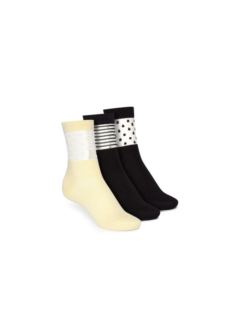 Socken Mittelhoch Schwarz Hellgelb 3er Pack  von ThokkThokk