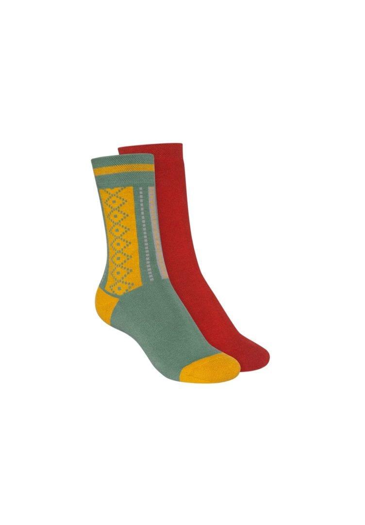 Socken Terry Hoch Rot Grün 2er Pack  von ThokkThokk