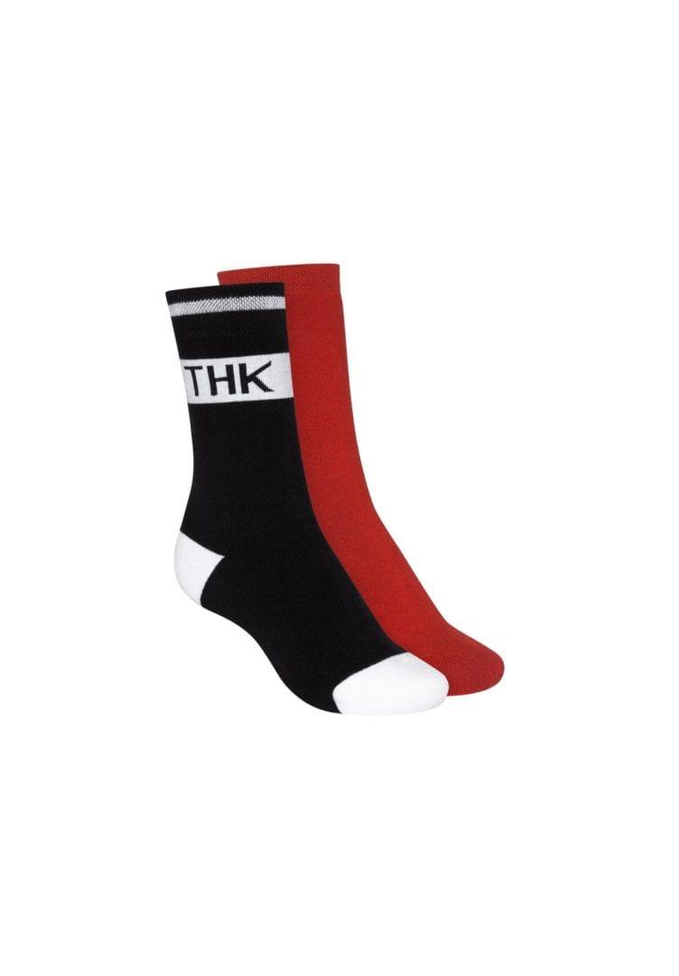 Socken Terry Hoch Rot Schwarz 2er Pack  von ThokkThokk