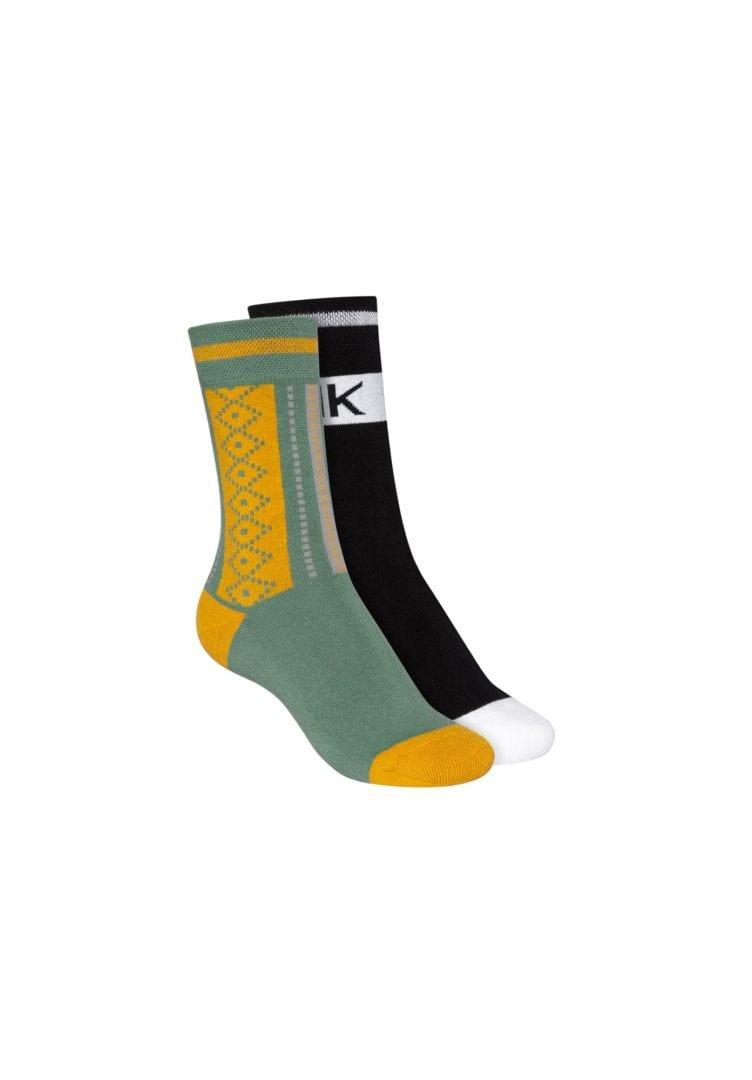Socken Terry Hoch Schwarz Grün 2er Pack  von ThokkThokk